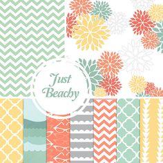 Just Beachy Paper Pack - 10 Digital Papers