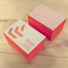 Orange letterpress business cards for mrjimelee on white frost Colorplan 540gsm edge painted and letterpress by Lost Heritage