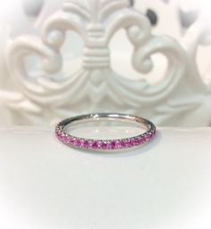 14K White Gold Pink Sapphire Full Eternity Ring 1.6mm Blushing Bride Pave Eternity Band 14K Pink Sapphire Matching Eternity Ring Birthstone by SARRIEL on Etsy