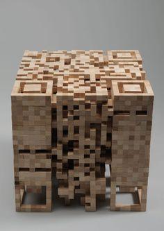 Elena Bellman - QR Code wood sculpture