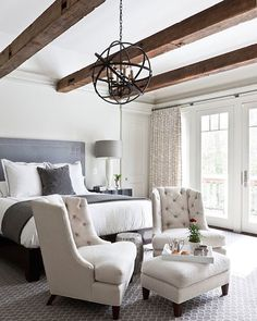 Sweet dreams~ a beautiful neutral bedroom designed by #ChristineHuve. Love the beams here, don't you?