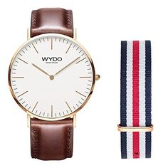 Awesome WYDO Males's 018RG Informal Basic Stainless Metal Quartz Analog Wrist Enterprise Watch with Interchangeable Brown Leather-based Band and Multi-color Striped Band