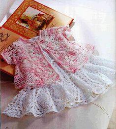 Crochet little girl set ♥LCK-MRS♥ with diagrams. --- Edivana Croche: Vestido Infantil com Bolerinho