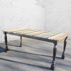 Beach Wood Stripe Dining Table