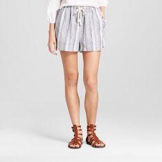 Women's Baja Linen Short - Mossimo Supply Co. Black and White Stripe Xxl