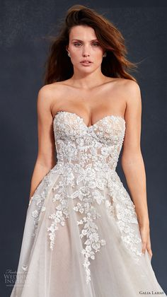 galia lahav couture fall 2017 bridal strapless sweetheart neckline heavily embellished bodice tulle skirt romantic princess a  line wedding dress chapel train (gia) zv