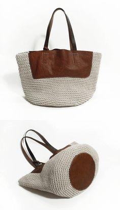 Crochet Genuine Leather Bag - idea