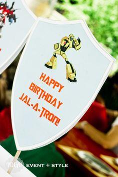 #Transformer party ideas . . . Transformers Birthday Parties, 4th Birthday Parties, 7th Birthday, Happy Birthday, Birthday Ideas, Rescue Bots Birthday, Transformer Birthday, Party Characters, Party Centerpieces