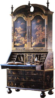 A touch of Black chinoiserie.an Oriental Hand Painted Drop-Front Secretary Desk Asian Furniture, Chinese Furniture, Oriental Furniture, Find Furniture, Antique Furniture, Painted Furniture, Painted Desks, Unusual Furniture, Rustic Furniture