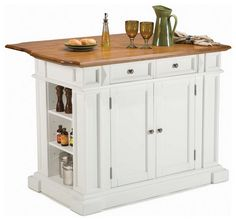 Movable Kitchen Islands with Seating | Traditional White Mobile Kitchen Island