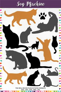 Cat Silhouettes, Cat svg - Kittens Silhouettes by svgmachine on Etsy Cat Quilt Patterns, Applique Patterns, Applique Designs, Line Drawing Tattoos, Cat Template, Cat Silhouette, Silhouette Design, Cat Applique, Cat Cards