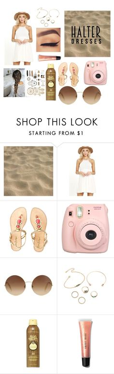 """""""Halter dresses"""" by coolpineapple-765 ❤ liked on Polyvore featuring Breckelle's, Lilly Pulitzer, Fujifilm, Victoria Beckham, Sun Bum and Bobbi Brown Cosmetics"""
