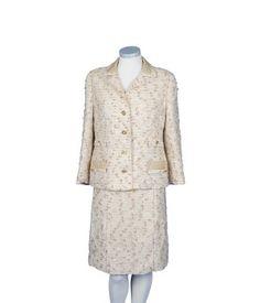 Traje de tweed en tonos beiges Años 80