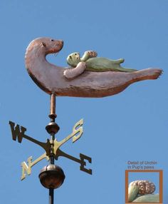 Otter Weather Vane, Sea Otter with Pup by West Coast Weather Vanes.  This handcrafted River Otter weathervane was customized using a copper River Otter on a brass river bank.