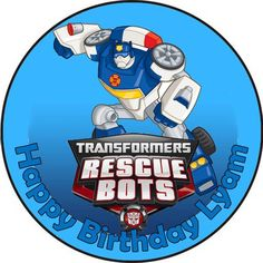 Edible Transformers Rescue Bots wafer cake topper birthday party PERSONALIZED