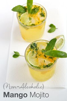 Non-Alcoholic Mango Mojito: skip all the refined sugar and empty calories in traditional mojitos and opt for this healthier version instead!