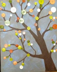 Colorful button tree on canvas