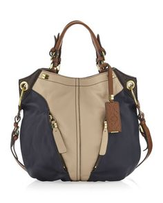 Oryany Victoria Colorblock Shoulder Bag, Sand/Navy - Neiman Marcus Last Call