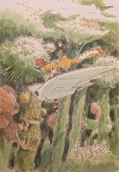 Images Drawn for the Nausicaa Motion Picture ===== Released March 1984 - image boards, tapestries drawn for the opening, etc ===== Notes: Nausicaa flying in the heart of the Sea of Corruption, wearing her gas mask