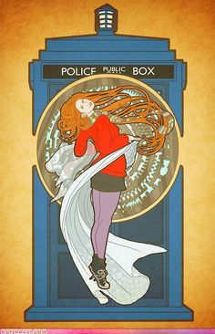 """Doctor Who""'s Amy Pond in art nouveau style. Artwork by Bill Mudron, via IHC    (Amy Pond: That's Some Good Stuff Right There)"