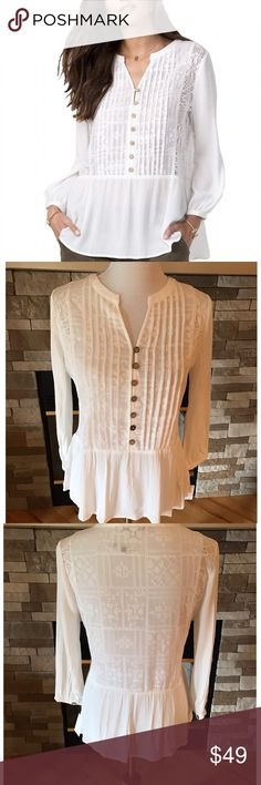 Miss Me Ivory Lace Peplum Top Vintage and Romantic Peplym Top with a faux half Button front.  Has gorgeous Lace and and crocheted detailing.  100% Viscose and 100% Polyester. Miss Me Tops