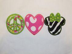 Custom Boutique Girls Applique Shirt, Minnie Mouse Disney, Zebra, Peace, Love, Minnie Head. $20.00, via Etsy.