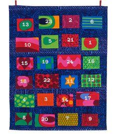 Marimekon joulukalenteri. Pituus 69 cm, leveys 55 cm.