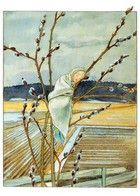 Pussy Willow Illustration by Swedish Illustrator Elsa Beskow Elsa Beskow, Art And Illustration, Girl Illustrations, Adorable Petite Fille, Poster Shop, Fairytale Art, All Nature, Jolie Photo, Groundhog Day