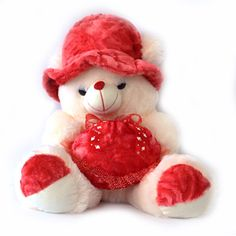 Teddy : 48 cms, Red and Cream Colored, Extremely soft, cute, huggable and adorable Teddy Bear features non toxic and eco-friendly. Cute Teddy Bear Pics, Teddy Bear Pictures, Tatty Teddy, Toys Online, Suede Fabric, Gifs, Cool Things To Buy, Plush, Nursery