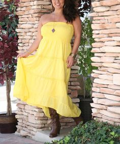 Love this Yellow Shirred Strapless Hi-Low Maxi Dress - Plus by Ananda's Collection on #zulily! #zulilyfinds