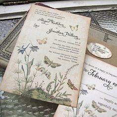 Vintage Wedding Invitation Botanical by SunshineandRavioli on Etsy, $5.00