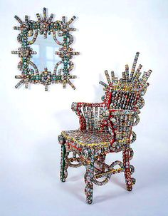 Recycled with bottlecaps Chair and Green Mirror by Rick Ladd