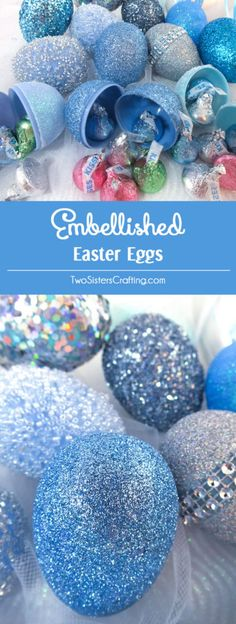 Embellished Easter Eggs - Take plastic Easter Eggs from Plain to Spectacular with our Easter Egg tutorial. They are so easy to make and they will be your favorite Easter decorations. Pin this fabulous Easter Decoration idea for later and follow us for more great Easter Craft ideas.