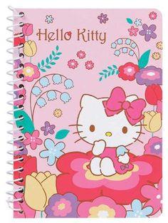 Sanrio HELLO KITTY Small SPIRAL Notebook NEW in PACK Flower Window Mirror