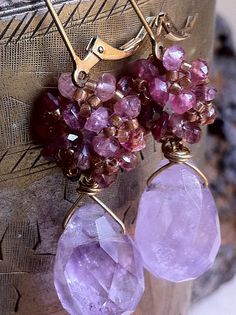 Gold filled amethyst & tourmaline cluster by BijouxaLaCarte, $29.00