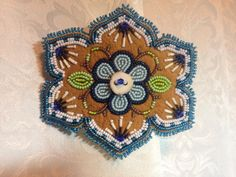 Large Beaded hair barrette on Moose Skin with porcupine quills and caribou antler button