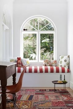 striped window seat.
