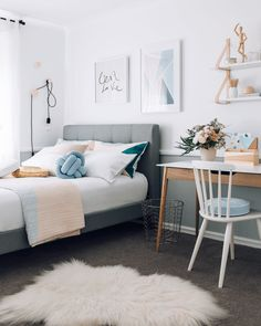 10 Best Teen Bedroom Ideas - Cool Teenage Room Decor for Girls and Teens - DIY Home Decors - Small Room Bedroom, Cozy Bedroom, Home Decor Bedroom, Modern Bedroom, Bedroom Furniture, Bed Room, Contemporary Bedroom, Bedroom Colors, Pretty Bedroom