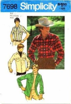 Simplicity 7698 Mens Western Style Shirts Sewing Pattern, Chest Size 40 Vintage 1976 Simplicity,http://www.amazon.com/dp/B00GIP1AJQ/ref=cm_sw_r_pi_dp_Uzeztb00WHF1MX59