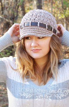 Must pin! Adorable crochet newsboy hat with leather accents and a floral button. Perfect for winter. $35.00