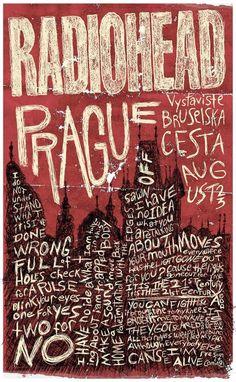Radiohead Poster(s) - Bruce's Grafik Design Gig Poster, Radiohead Poster, Poster Art, Print Poster, Graphic Design Posters, Graphic Design Inspiration, Typography Design, Lettering, Poster Designs