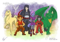 The main cast of the Dragon Calling series, all Ghibli-fied and put together for a group shot. One of my personal favourite creations, as I LOVE Studio Ghibli. Characters featured (from left to right) are: Ubi, Fargo, Norf, Yarad, Shifra, Ghinzel, and Laeka'Draeon. Creatures: Unicorn, Spirit Message, Satyr, Hemlan Mage, Morwulf, Fellis, and Dragon! Fantasy Adventurer, Fictional World, Fictional Characters, Dragon Names, Fantasy Authors, Satyr, Fantasy Series, Studio Ghibli, Short Stories