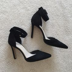 Jessica Simpson. Black suede d'orsay heels. Excellent condition. The bottoms have been professionally resoled with a rubber sole by the cobbler ($25 value). Black suede with an ankle strap, cutout d'orsay style. Price is close to firm.   no trades ✖️ no holds  offers considered through the offer button ♻️ if it's listed, it's available Jessica Simpson Shoes Heels