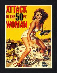 AP-FRAME-031 - Attack of the 50ft Woman, Movie Poster - Framed Print 32x42cm Black