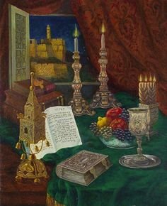 Victor Brindatch - Havdalah - Jewish Art Oil Painting