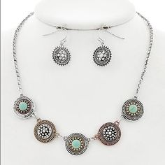 "Turquoise Stone Necklace Set Tri-tone / Turquoise Stone / Metal / Fish Hook (earrings) / Necklace & Earring Set •   ChiqStyle No : 000520563 •   LENGTH : 15"" + EXT •   EARRING : 1"" •   DROP : 1/2""  •   MULTI/LIGH Jewelry Necklaces"