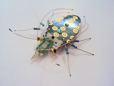 Jewelled Cockroach, Circuit Board Insect by Julie Alice Chappell by DewLeaf on Etsy