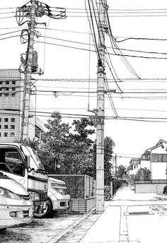 very beautiful manga landscapes - Perspective Drawing, Sketches Arquitectura, Background Drawing, Urban Sketchers, Black And White Drawing, Architecture Drawings, Storyboard, Manga Art, Vanishing Point