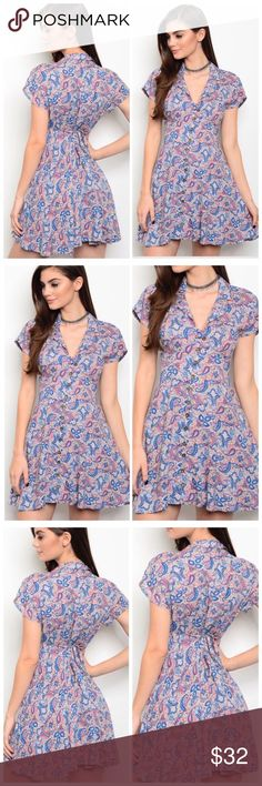 🆕The Katy paisley print tie back skater mini This short sleeve tie back dress features full frontal buttons and a back tie to adjust to your desired fit. With a darling paisley print in different hues of pink blue and purple this will surely fit perfectly into your spring and summer wardrobe! This dress has minimal stretch and fits true to size with fabric made or 100% rayon. Pair with sandals and a floppy hat for some fun in the sun! Bundle for a discounted price. Dresses Mini
