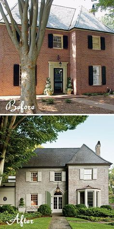 Ideas For Exterior Brick House Colors French Country Curb Appeal Brick House Colors, Exterior House Colors, Exterior Paint, Exterior Design, Exterior Shutters, White Wash Brick Exterior, Home Exterior Makeover, Exterior Remodel, Style At Home
